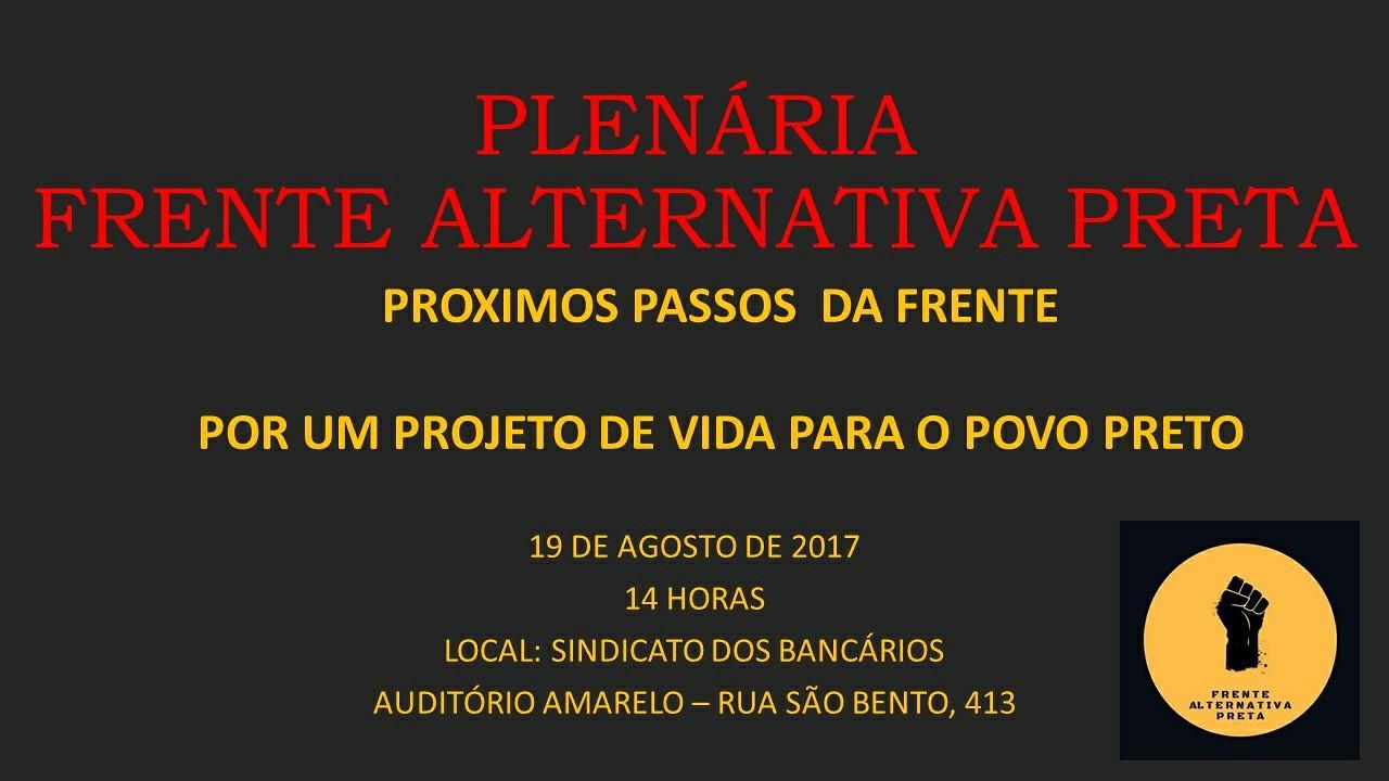 Convite – Plenária da Frente Alternativa Preta
