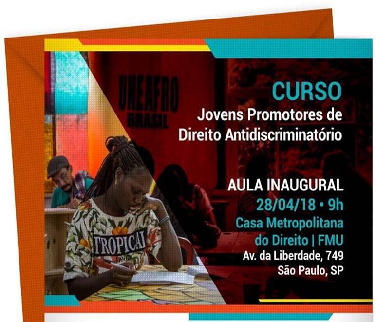 """Projeto """"Jovens Promotores de Direito Antidiscriminatório"""" terá aula inaugural gratuita neste sábado"""