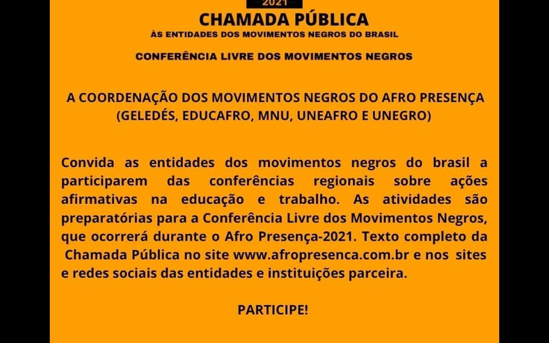 Ministério Público do Trabalho abre inscrições para Conferência Livre dos Movimentos Negros